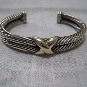 DAVID YURMAN Double Cable X Bracelet Cuff